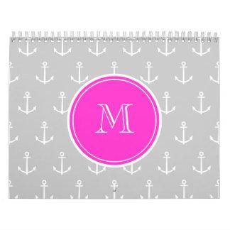 Gray White Anchors Pattern, Hot Pink Monogram Wall Calendar