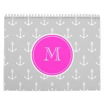 Gray White Anchors Pattern, Hot Pink Monogram Calendar