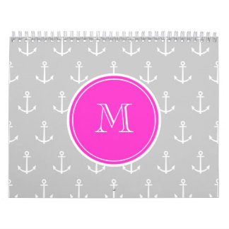 Gray White Anchors Pattern, Hot Pink Monogram Calendar