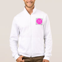 Gray White Anchors Pattern, Hot Pink Monogram Jacket