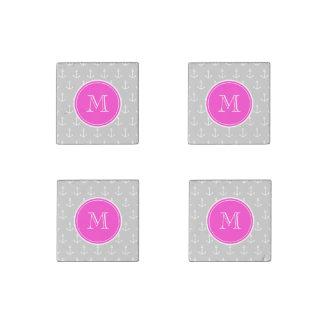 Gray White Anchors Pattern, Hot Pink Monogram Stone Magnet
