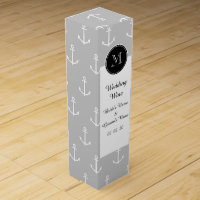 Gray White Anchors Pattern, Hot Pink Monogram Wine Gift Box