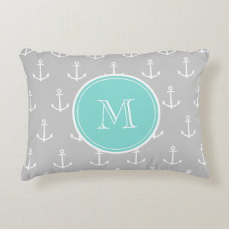 Gray White Anchors Pattern, Mint Monogram Accent Pillow