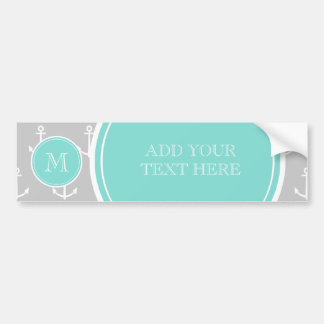 Gray White Anchors Pattern, Mint Monogram Bumper Sticker