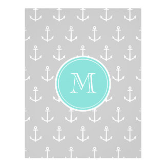 Gray White Anchors Pattern, Mint Monogram Personalized Flyer