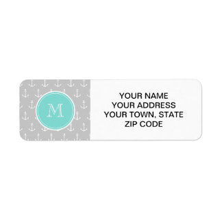 Gray White Anchors Pattern, Mint Monogram Custom Return Address Label