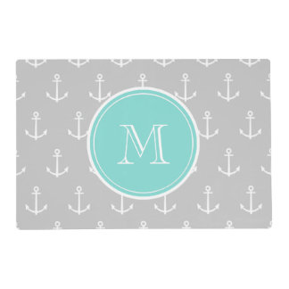 Gray White Anchors Pattern, Mint Monogram Laminated Placemat