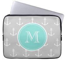 Gray White Anchors Pattern, Mint Monogram Laptop Sleeve