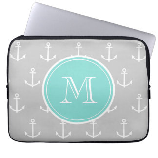 Gray White Anchors Pattern, Mint Monogram Laptop Computer Sleeves