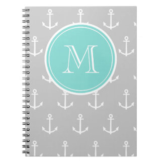 Gray White Anchors Pattern, Mint Monogram Notebook