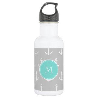 Gray White Anchors Pattern, Mint Monogram Stainless Steel Water Bottle