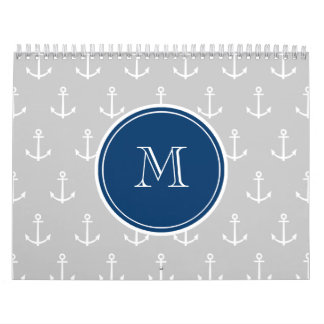 Gray White Anchors Pattern, Navy Blue Monogram Wall Calendars