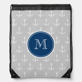 Gray White Anchors Pattern, Navy Blue Monogram Drawstring Bag