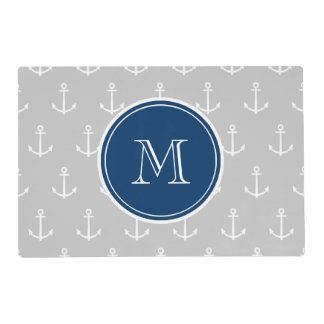 Gray White Anchors Pattern, Navy Blue Monogram Laminated Placemat