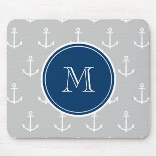 Gray White Anchors Pattern, Navy Blue Monogram Mouse Pad