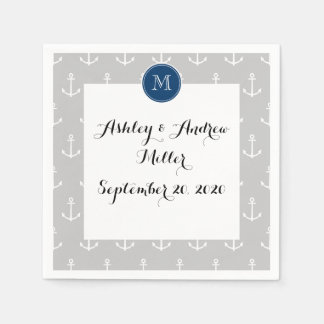 Gray White Anchors Pattern, Navy Blue Monogram Standard Cocktail Napkin