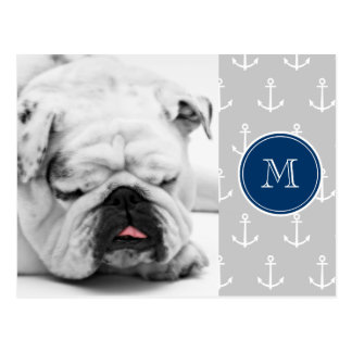 Gray White Anchors Pattern, Navy Blue Monogram Postcard