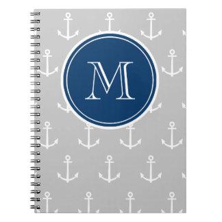 Gray White Anchors Pattern, Navy Blue Monogram Spiral Notebook
