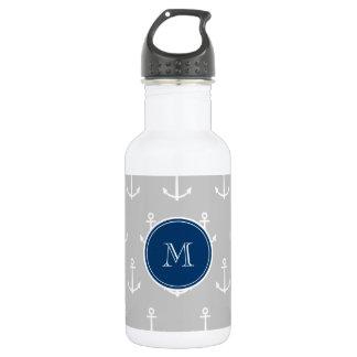 Gray White Anchors Pattern, Navy Blue Monogram Water Bottle