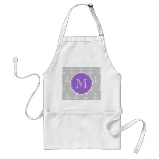 Gray White Anchors Pattern, Purple Monogram Adult Apron