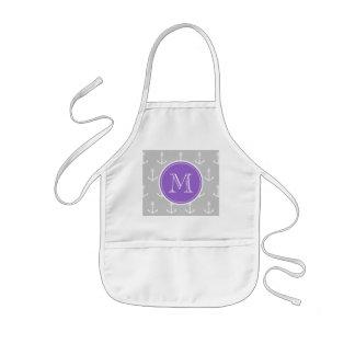 Gray White Anchors Pattern, Purple Monogram Kids' Apron