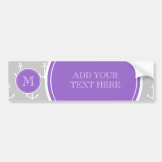 Gray White Anchors Pattern, Purple Monogram Bumper Sticker