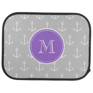 Gray White Anchors Pattern, Purple Monogram Car Mat
