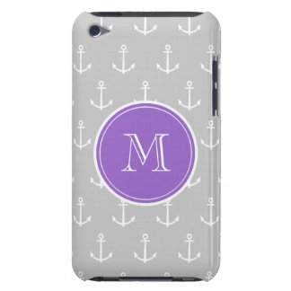 Gray White Anchors Pattern, Purple Monogram Case-Mate iPod Touch Case