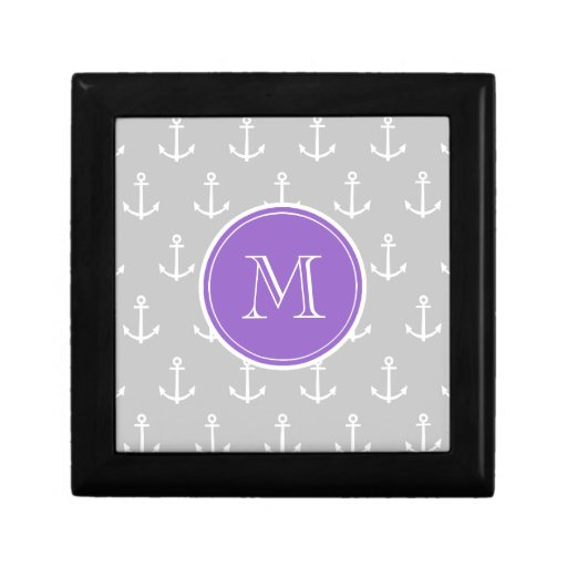 Gray White Anchors Pattern, Purple Monogram Gift Box