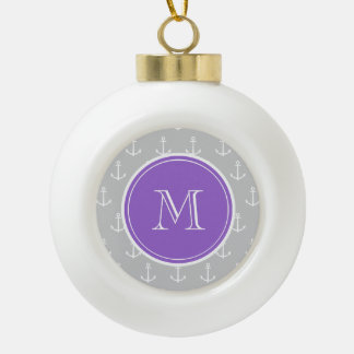 Gray White Anchors Pattern, Purple Monogram Ornament