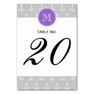 Gray White Anchors Pattern, Purple Monogram Table Cards