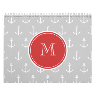Gray White Anchors Pattern, Red Monogram Wall Calendar