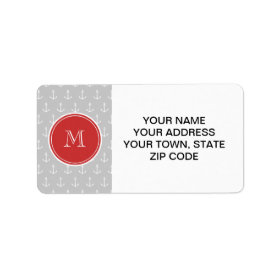 Gray White Anchors Pattern, Red Monogram Personalized Address Labels