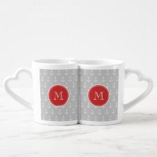 Gray White Anchors Pattern, Red Monogram Lovers Mug Sets
