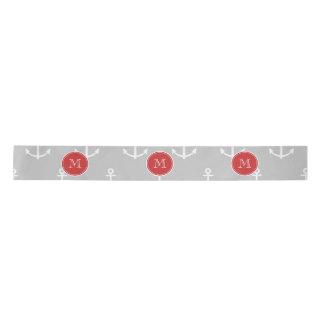 Gray White Anchors Pattern, Red Monogram Satin Ribbon