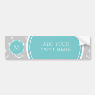 Gray White Anchors Pattern, Teal Monogram Bumper Sticker
