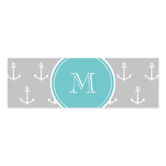 Gray White Anchors Pattern, Teal Monogram Business Card