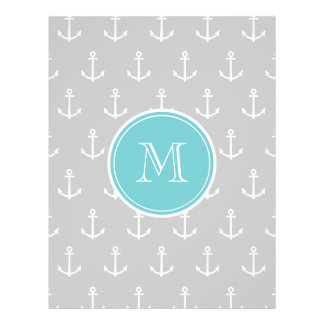 Gray White Anchors Pattern, Teal Monogram Custom Flyer