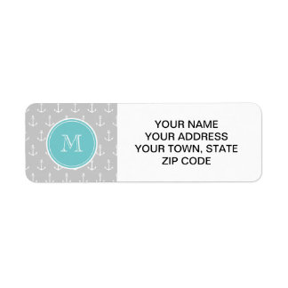 Gray White Anchors Pattern, Teal Monogram Label