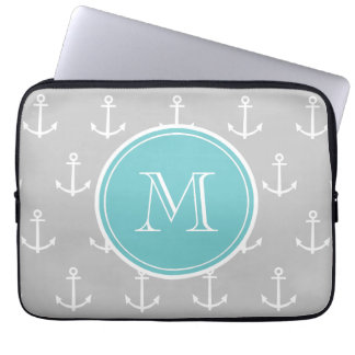 Gray White Anchors Pattern, Teal Monogram Computer Sleeve