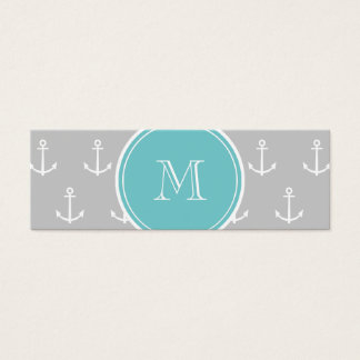 Gray White Anchors Pattern, Teal Monogram Mini Business Card