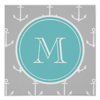 Gray White Anchors Pattern, Teal Monogram Poster