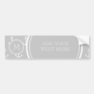 Gray White Anchors Pattern, Your Monogram Bumper Sticker