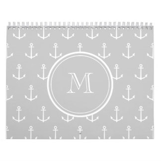 Gray White Anchors Pattern, Your Monogram Calendars
