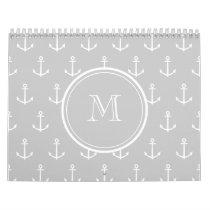 Gray White Anchors Pattern, Your Monogram Calendar