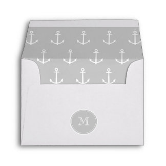 Gray White Anchors Pattern, Your Monogram Envelope