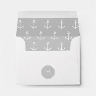 Gray White Anchors Pattern Your Monogram Envelope