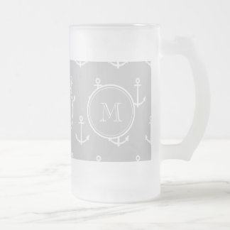 Gray White Anchors Pattern, Your Monogram Frosted Glass Beer Mug