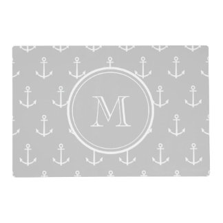Gray White Anchors Pattern, Your Monogram Laminated Place Mat