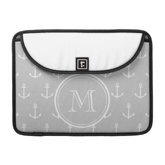 Gray White Anchors Pattern, Your Monogram MacBook Pro Sleeve